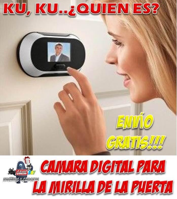 CAMARA DIGITAL PARA LA MIRILLA DE LA PUERTA. Sistema de cámara y pantalla LCD para mirilla de puerta de acceso a casa, que le permite ver quién está al otro lado de la puerta de su casa sin necesidad de adoptar incómodas posturas ni forzar la vista para mirar a través del pequeño agujero de una mirilla tradicional. http://www.yougamebay.com/es/product/camara-digital-para-la-mirilla-de-la-puerta-de-casa-camaras-de-seguridad