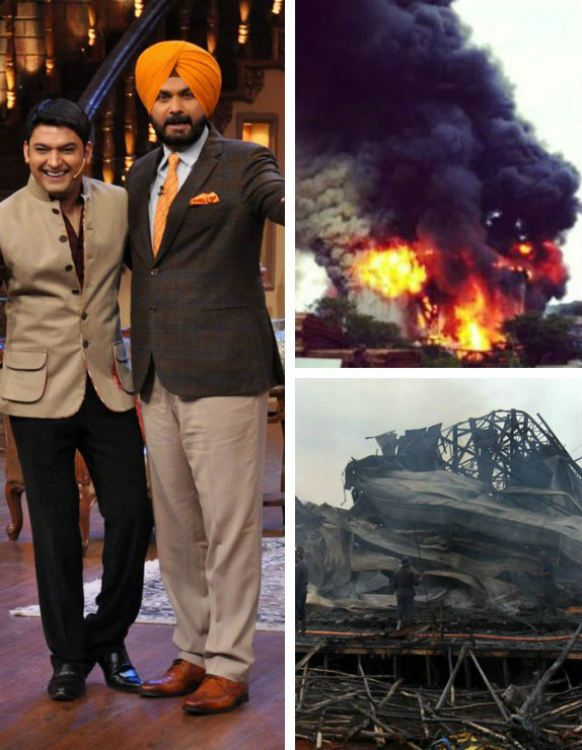 """Fire destroys set of """"Comedy Nights with Kapil"""", Colors show Comedy Nights with Kapil set fire destroy"""