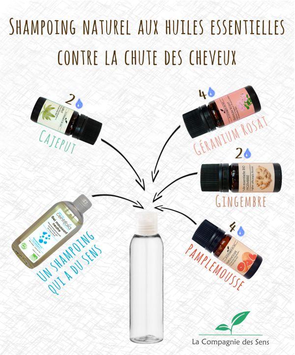 Shampoing naturel aux huiles essentielles, solution pour lutter contre la chute des cheveux.