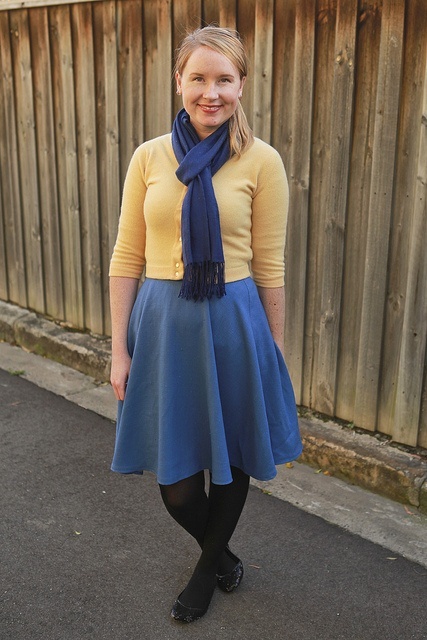 Day 27 Me Made May  Self-drafted Blue Circle Skirt {via Jennifer Lauren Vintage}