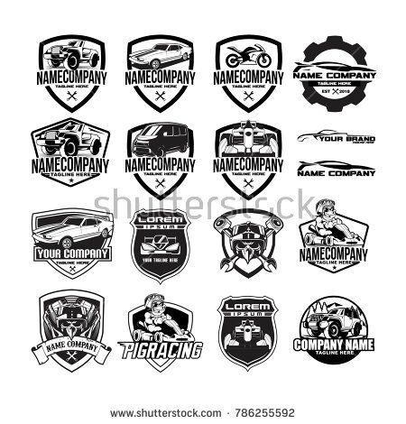 SET AUTOMOTIVE BADGE EMBLEM LOGO. RACING, GARAGE, CAR REPAIR AND AUTO SERVICE