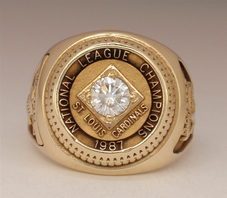 "1987 Saint Louis Cardinals World Series ""N.L."" Champions 10K Gold Ladies Ring"