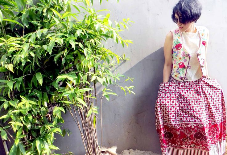 Batik Amarillis Creative Director : Selly Hasbullah wearing Batik Amarillis's folkore vest which made classic Hungarian embroidery on raw tenun batik gedog Tuban also batik amarillis's bohemian summer skirt which made of  hand drawn reproduction of old & classic  pattern batik Banyumas.