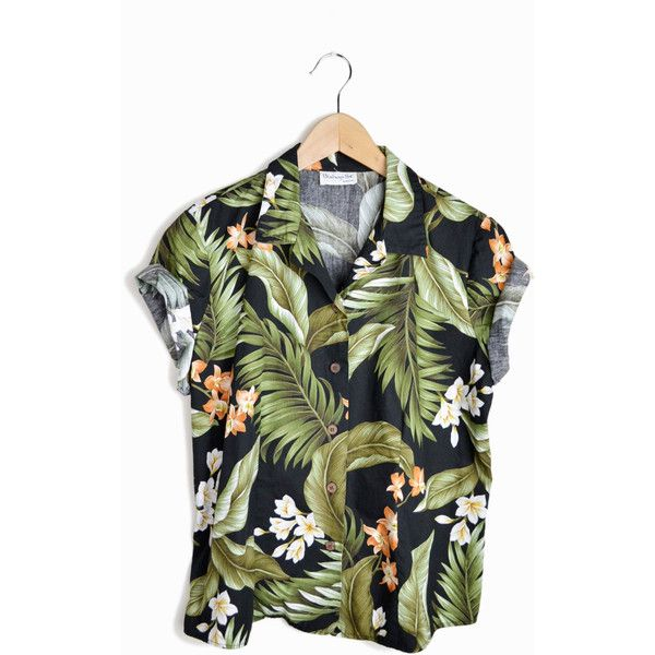 Vintage 80s Floral Hawaiian Shirt in Black & Green - m/l (845 UAH) ❤ liked on Polyvore featuring tops, shirts, t-shirts, blouses, shirt tops, floral shirts, floral tops, green top and checked shirt