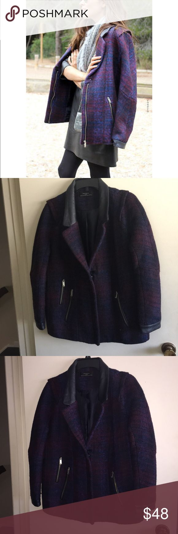 Zara Trafaluc Plaid Coat Gorgeous purple plaid coat by Zara Trafaluc with zipper details and faux leather shoulders, ideal for the transition from winter to spring!   ✨just trying to clean out my closet, make a reasonable offer!✨ Zara Jackets & Coats