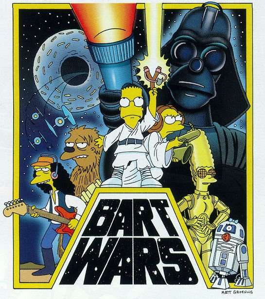Bart Wars: Han Mann, Chewgumble, Luke Simpson, Princess Lisa, C-MRG & RM-8G, all overlooked by Darth Simpson
