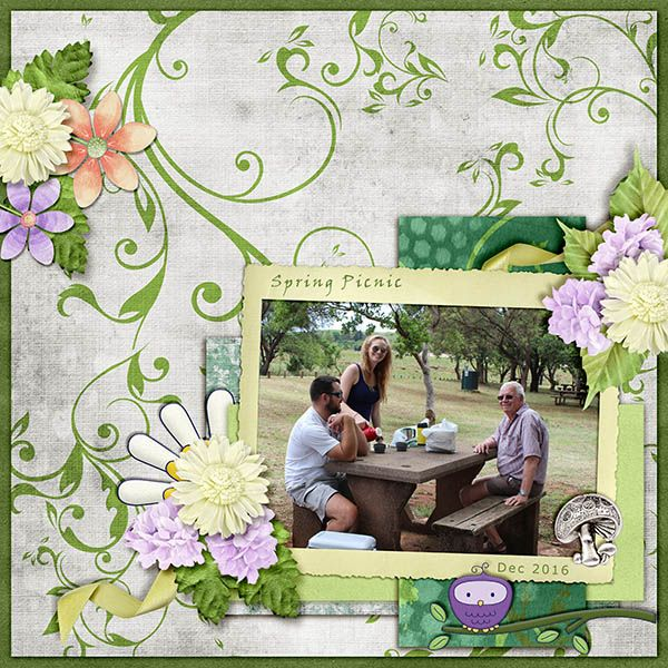 Discovering Spring is a fun and beautiful digital scrapbook collection.  It has loads of watercolor texture, and some adorable whimsy for creating sweet scrapbooking layout pages.  There are lots of flowers and birdies to cluster up around your precious family photos.