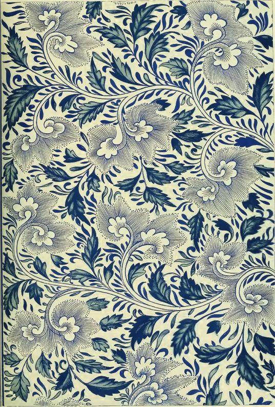 Jones, Owen: Examples of Chinese ornament selected from objects in the South Kensington museum and other collections 1867. Plate VIII.  From a blue-and-white china Bottle. Here we  have continuous stems running round the bottle,  throwing off flowers right and left, fitting into each  other as it were, and yet triangulation is never  lost sight of.