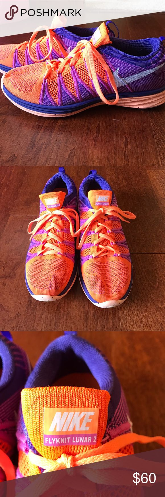 Orange and Purple women's Nike flyknit lunar 2 Women's Nike Flyknit Lunar 2 sneaker! The shoes are shades of orange and purple. They are in brand new condition! Size 9. Nike Shoes Sneakers