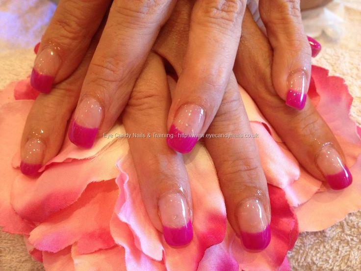 Acrylic nails with gel polish on tips