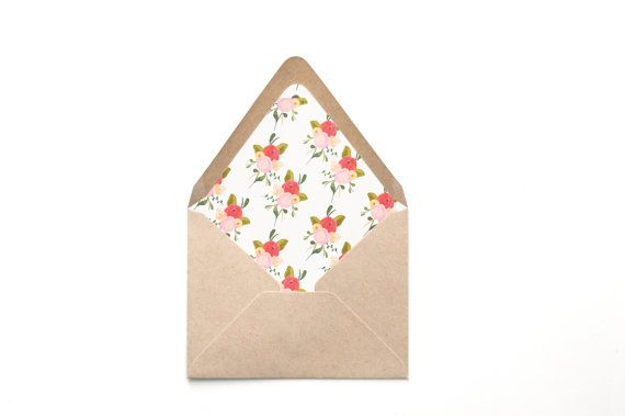 Printable Custom Envelope Liner Template, Small Painted Blooms