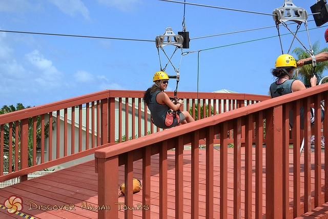 The end of the zip line, via http://discoverhawaiitours.com/to/windward_oahu_activity.html