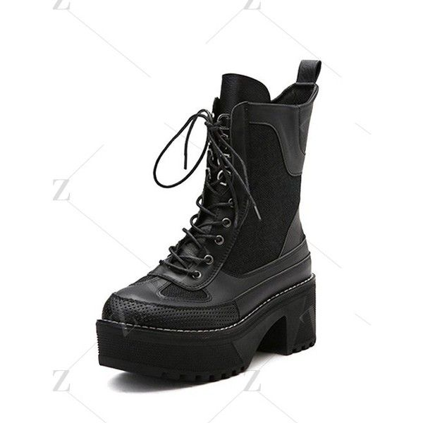 Splicing Platform Lace-Up Combat Boots ($55) ❤ liked on Polyvore featuring shoes, boots, platform boots, lacing combat boots, military lace up boots, laced up combat boots and combat booties