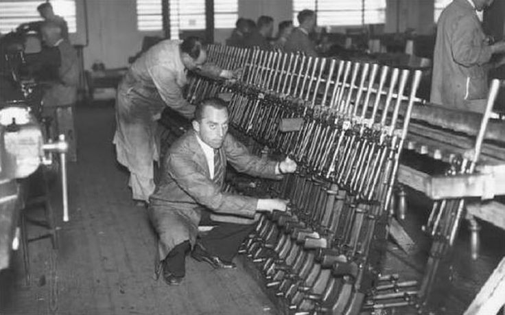 Completed Bren guns at Royal Small Arms Factory Enfield, London, England, United Kingdom, date unknown