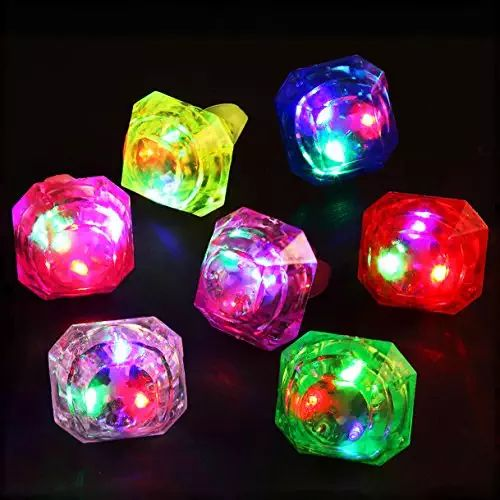 Midafon 24 Pack LED Glow Rings Light Up Flashing Rings Plastic Diamond Kids Play Rings Glow In The Dark Toys Bachelorette Birthday Themed Football Party Favors
