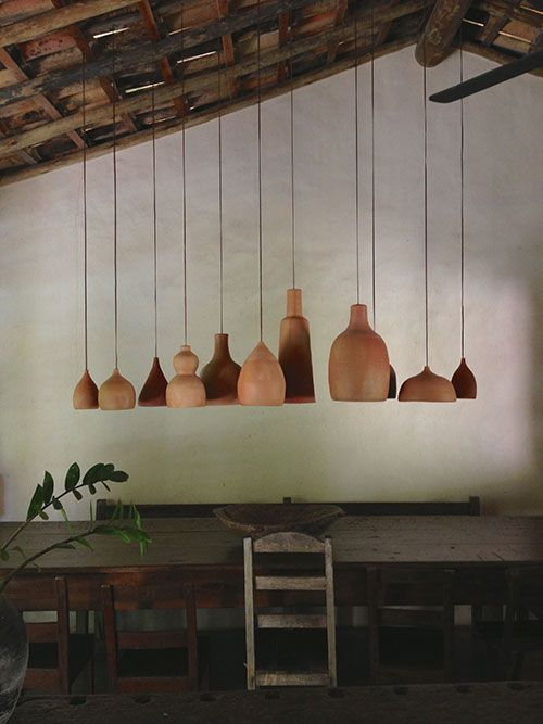 Lots of different shaped lamps hanging with huge precision