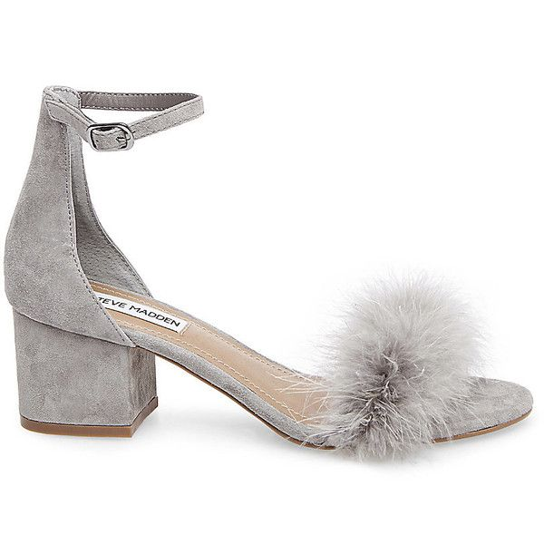 Steve Madden Women's Imelda Shoes (135 CAD) ❤ liked on Polyvore featuring shoes, grey suede, strappy shoes, strap shoes, mid-heel shoes, mid heel dress shoes and feather shoes
