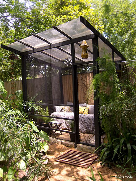 Relaxing screened room for the garden.    Source: Austin, TX