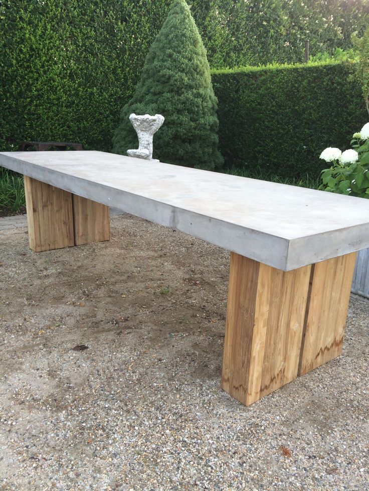 Cessa Light Concrete and Teak Dining Table - Mecox Gardens