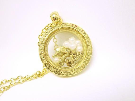 #PENDANT Gold Under The Sea #NAUTICAL Pendant Tiny Pearls Seahorse Starfish Turtle And Coral White Pearls Tiny Crystals Gold NAUTICAL Pendant    Beautifully Decorated Pendant... #seaglass #seaglaspendant #nauticalnecklce #gift #giftidea #giftforher #fashion
