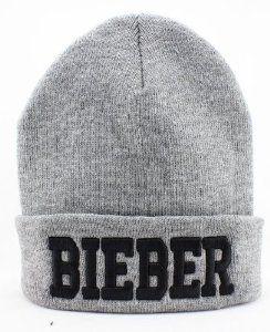 Justin Bieber Beanie (Gray with Black Logo)