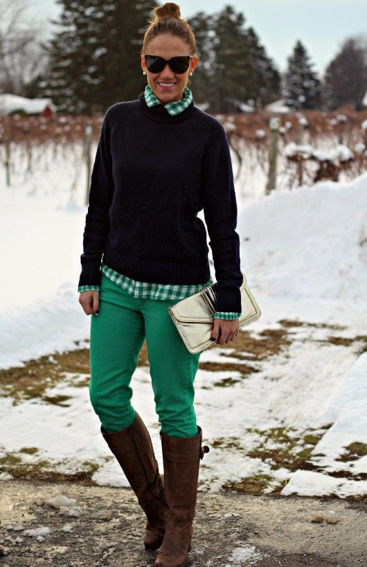 Green Pants Outfit with Gingham & Navy