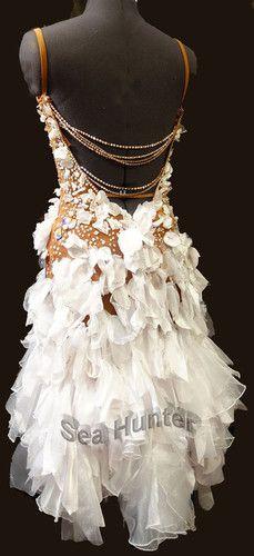 Competition Ballroom Cha Cha Latin Samba Dance Dress US 8 UK 10 Skin White | eBay
