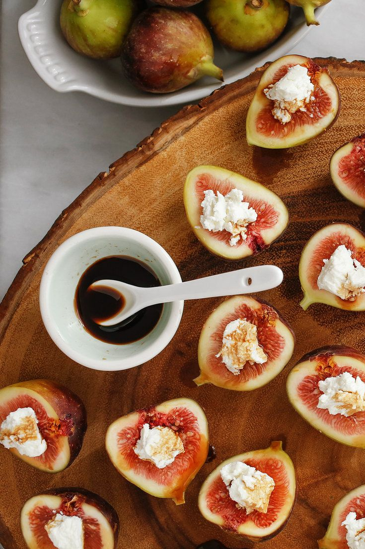 NYT Cooking: Here's a super-simple appetizer. Fresh figs are halved and stuffed with any creamy, flavorful cheese. A good blue works, but creamy goat cheese, drizzled with balsamic vinegar, is even more crowd-pleasing.