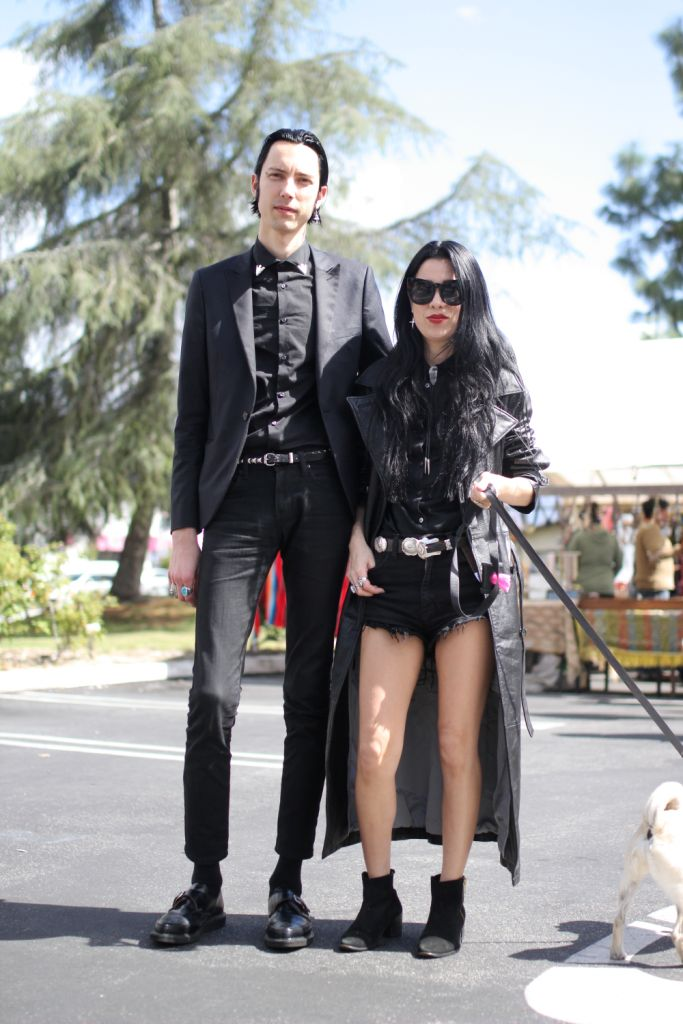 street style  Zachary and Alex  street style  Location: PCC Flea Market  Zachary(Left)/27/Musician  Outfit Details:  Blazer: Topman  Shirt: From London  Jeans: Naked and Famous  Shoes: George Cox  Belt: Manic Panic  Collar Clips: Cowbody shop  Rings: Gifts from Alex  Instagram: @zacharyjames_  My style is influenced by my music with a heavy emphasis on black and Johnny Cash and Roy Orbinson.  Alex(Right)/32/Musician; Singer  Outfit Details:  Coat: Vintage from Flea Market  Belt: Vintage…