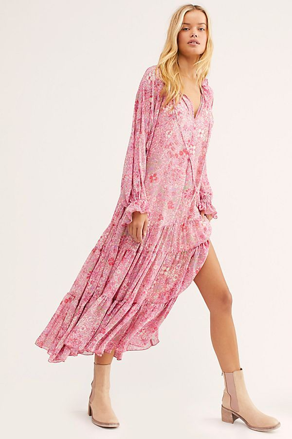L Large Free People First Bloom Lace Summer Beach Dress in Pink//Rose