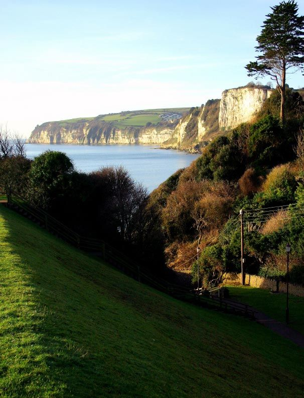 A view from Seaton towards the 400ft high limestone cliffs of Beer Head. Seaton | South Devon | England