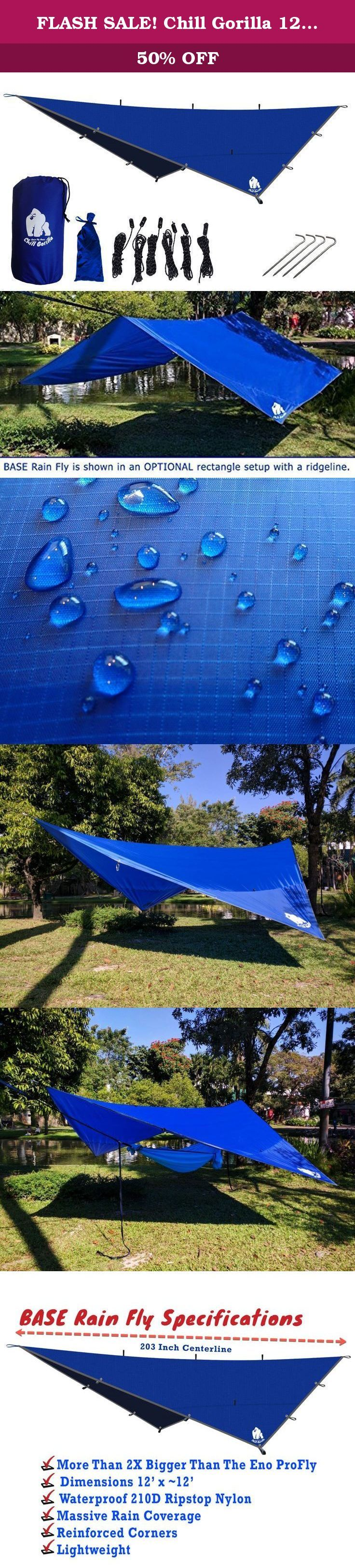 FLASH SALE! Chill Gorilla 12' Pro Rain Fly, Waterproof Tent Tarp, Hammock Shelter [Essential Camping and Survival Gear] RIPSTOP Nylon 12' x 12' Blue. ✅ #1 Rated Seller On Amazon. 100% Customer Satisfaction Approval Rating! BEAT THE RAIN! Do you need sound, foul-weather protection that is fast and easy to setup? Chill Gorilla's Rain Fly sets up fast, packs light, and keeps you dry. Our weatherproofing process completely saturates the rainfly (not just sprayed). This process costs more and…