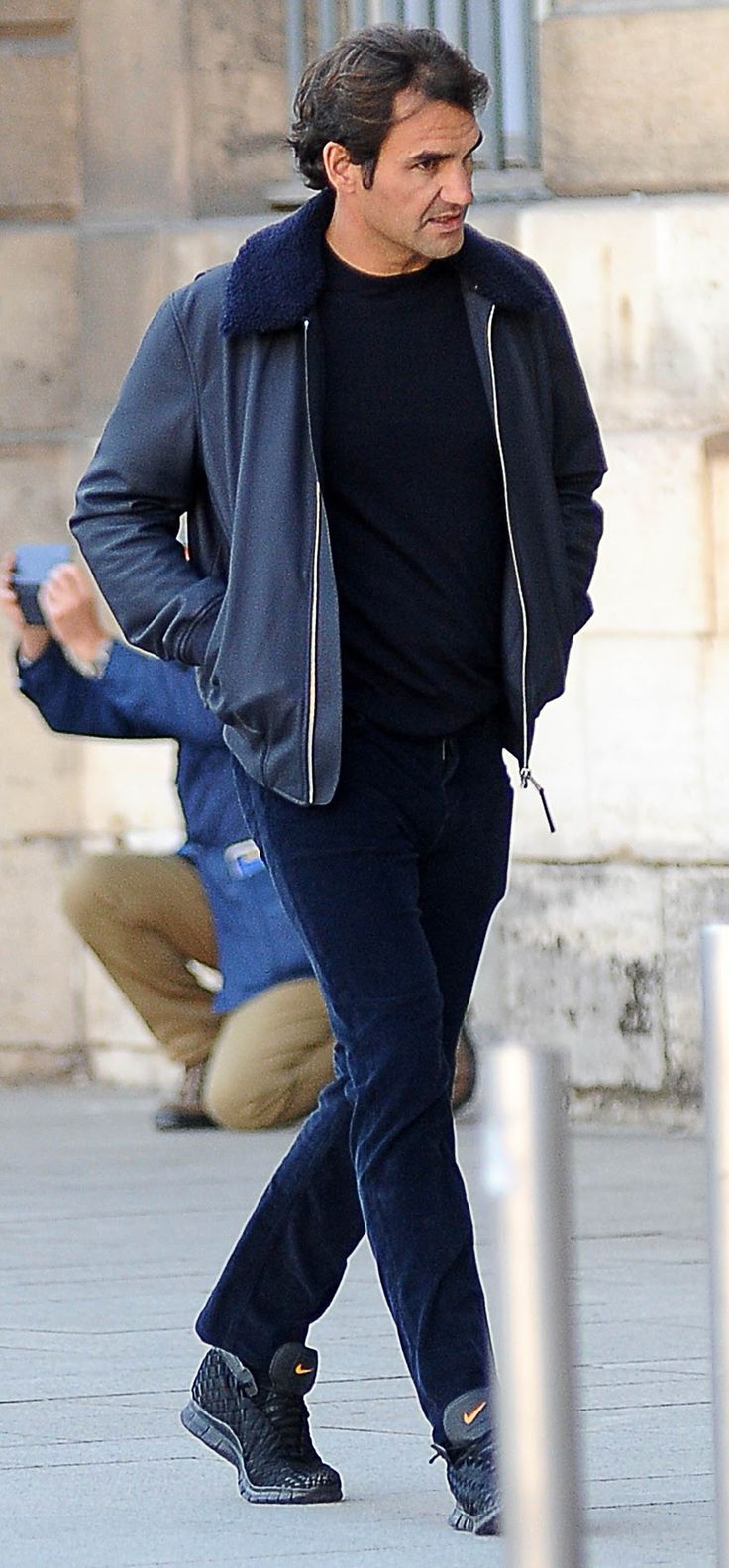Even off-duty Federer looks elegant. His fur-collar bomber and monotone navy rig is one every guy can pull off.