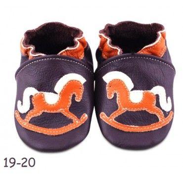 Chaussons bébé cuir souple cheval bascule violet orange