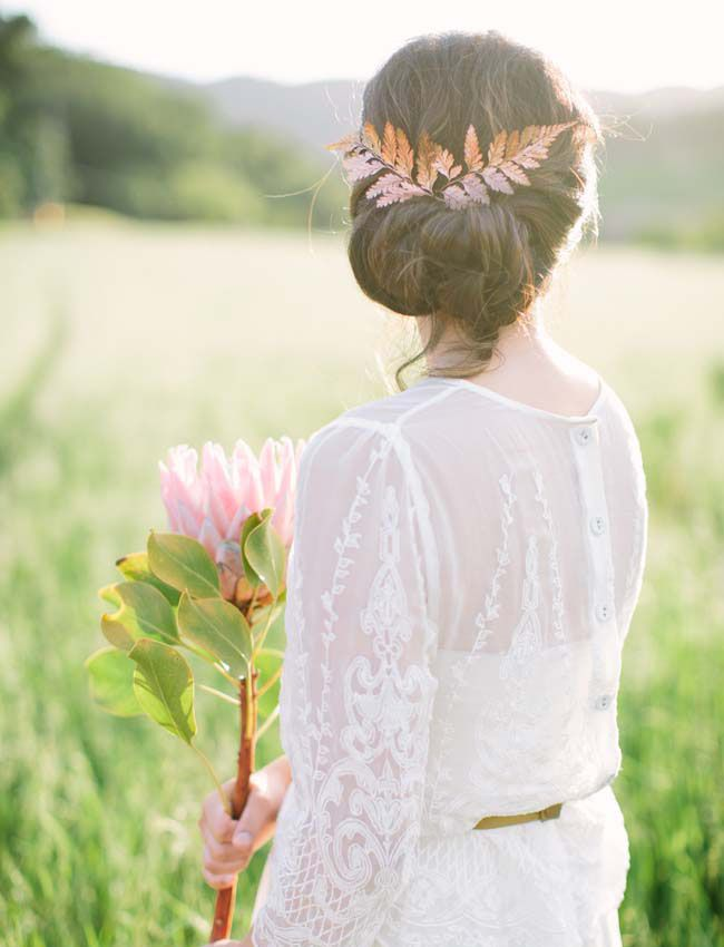 green wedding shoes | wedding hair | copper | leaf hairpiece | messy bun | wedding updo