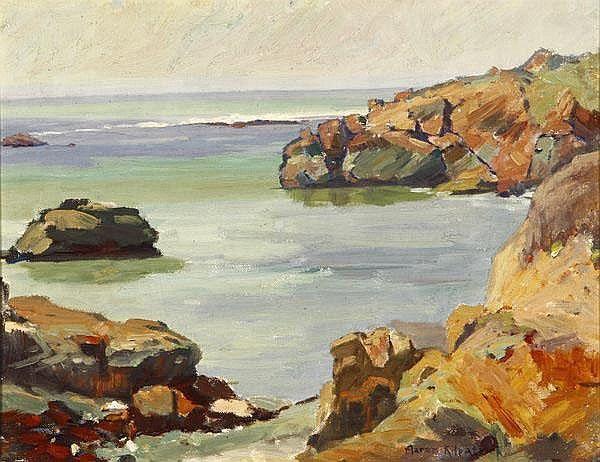 Aaron Kilpatrick (1872-1953 Eagle Rock, CA) ''California Coast'', signed lower right: Aaron Kilpatrick,oil on canvas, each: 14'' x 18'',