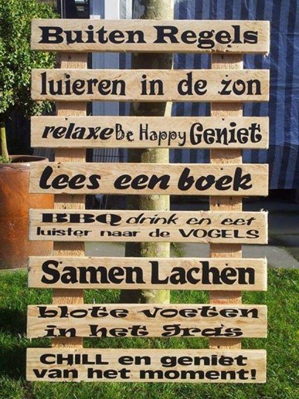 Gaaf tekstbord op sloophout voor buiten gemaakt! te koop bij VanEtjes