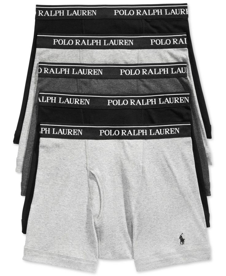 Polo Ralph Lauren adds designer style to classic comfort in this 5-pack of boxer briefs. | Cotton | Machine washable | Imported | Includes 5 pairs, solid colors(Black color shown on model for style fi