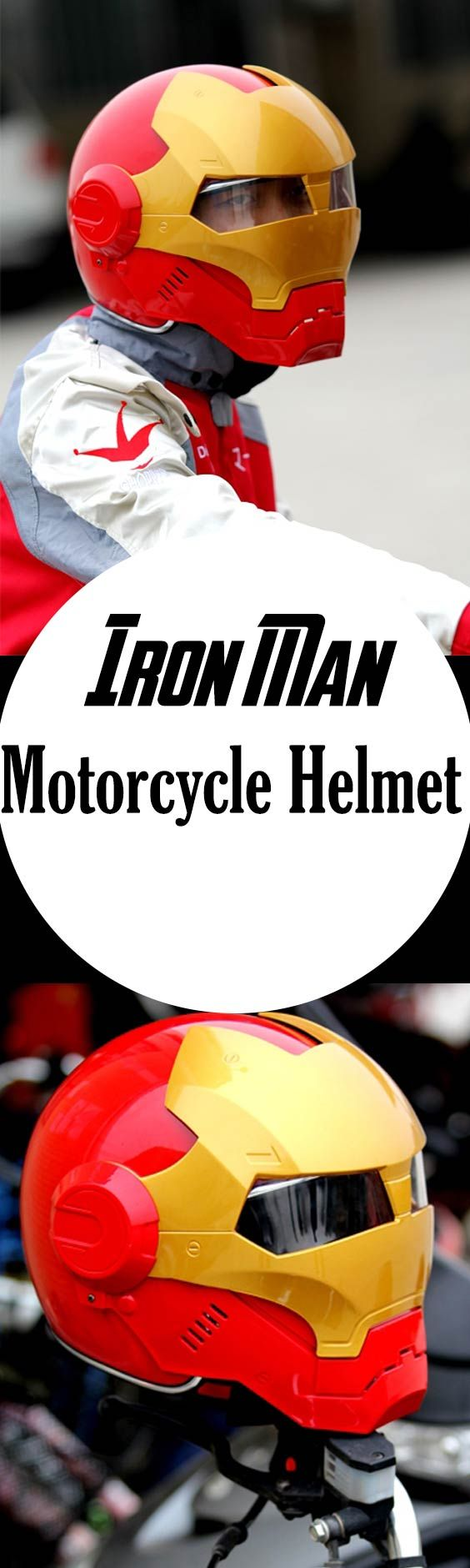 IRON MAN Full Face Motorcycle Helmet is perfect for some Iron Man style show-off