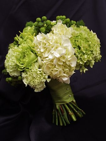Gorgeous juicy green and white bouquet, with green roses, green and white hydrangeas, hypericum berries and green carnations.  Beautiful Wedding Bouquets Lake Jackson TX   The English Florist...www. theenglishfloristonline.com
