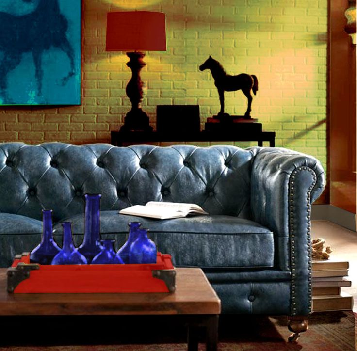 Blue Leather Sofa Traditional Rustic Tufted Couch NailHead Scroll Arms Genuine #ChesterfieldTraditionalTransitionalCountry