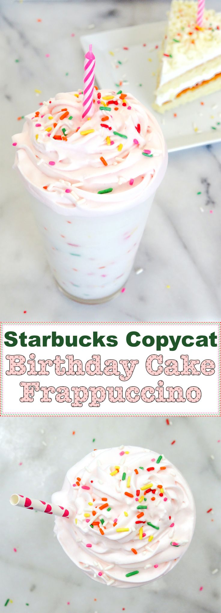 The Starbucks Copycat Birthday Cake Frappuccino mixes vanilla and hazelnut and is topped with a raspberry whipped cream. Have it anytime since it's caffeine-free!