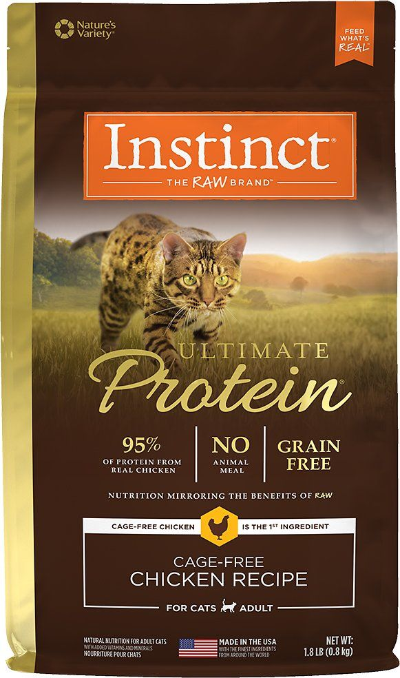 Based on the belief that raw is the purest form of nutrition, Instinct by Nature's Variety Ultimate Protein Grain-Free Cage-Free Chicken Recipe Dry Cat Food was created to closely mirror the benefits of a raw diet. In fact, it has the highest levels of protein from real meat — absolutely no animal meal — and unmatched digestibility* for optimal nutrient absorption. Including guaranteed levels of live, natural probiotics, natural omegas and antioxidants, the result is a protein-rich kibble...