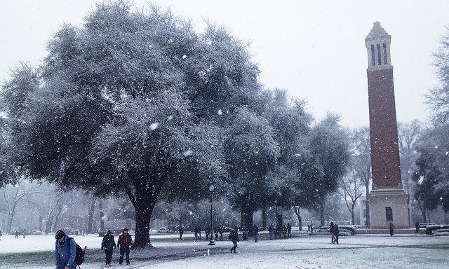Snowfall on Denny Chimes. University of Alabama, Tuscaloosa
