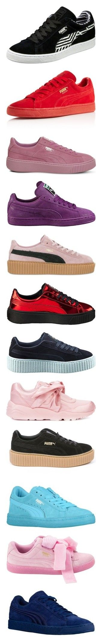 """""""Pumas😍😍😍"""" by jayythegreatest ❤ liked on Polyvore featuring shoes, sneakers, suede sneakers, sports shoes, lacing sneakers, long shoes, stripe shoes, laced up shoes, suede leather shoes and puma footwear"""