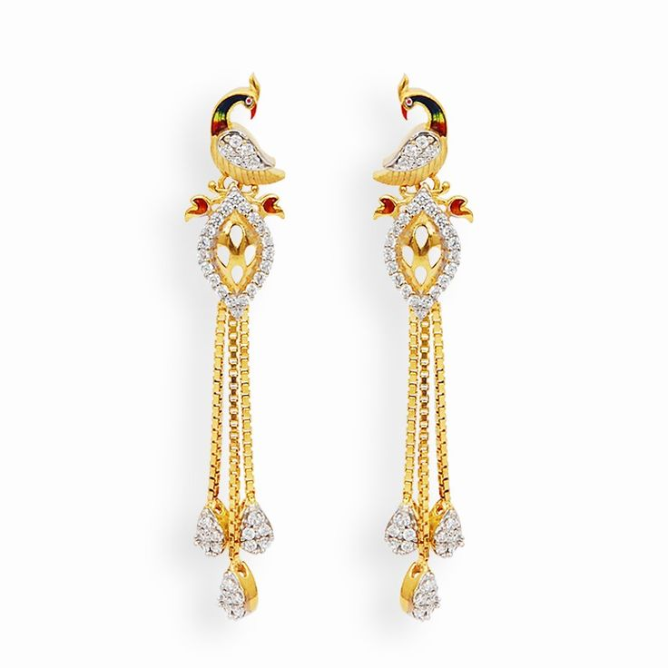 Holi Collection | Elegant Peacock Earrings | GRT Jewellers