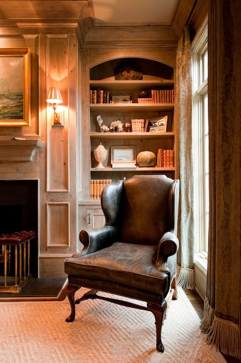 leather wingback chair rightly associated with the library panneling approach