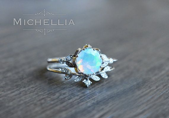 Vintage Opal Floral Engagement Ring with by MichelliaDesigns