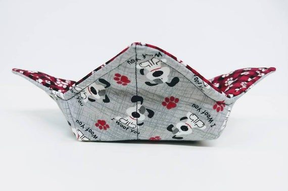 Gray and Plaid Puppy Dog and Paw print quilted cotton reversible microwavable soup bowl holder or co   – Products