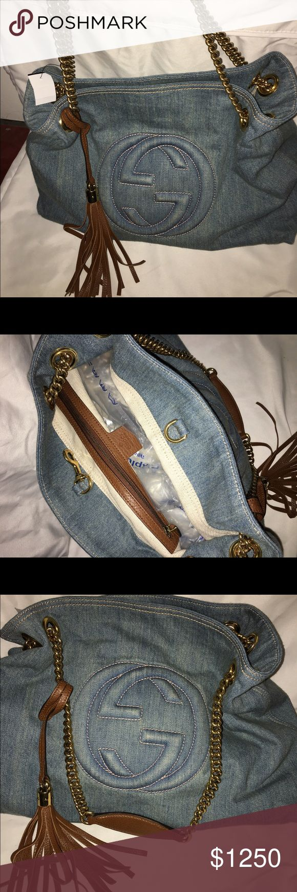 Gucci bag Gucci Soho denim medium chain bag never been used, still has price tag + bag to store it in Gucci Bags Shoulder Bags